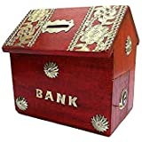 CLASSIC SHOPPE HUT Shape Piggy Bank/Money Bank for Kids and Adult (red)