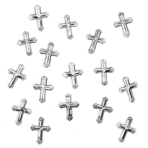 150 Stk Deko Kreuze Folien Konfetti in Gold oder Silber Streuteile Scrapbooking Tischdeko Streudeko Taufe (Silber)