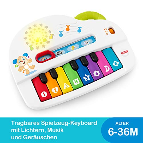 Fisher-Price GFK01 - Babys erstes Keyboard, Piano Lernspielzeug mit Liedern, Geräuschen und Sätzen ab 6 Monaten, deutschsprachig