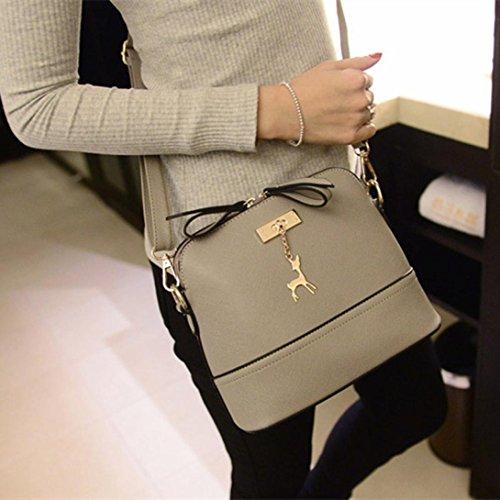 DDLBiz® Frauen-Beutel-Weinlese-kleine Shell Leder handtasche Grau
