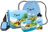 Kindergartentasche Peppi als SET (Set besteht aus: Tasche, Turnbeutel, Brotdose, Trinkflasche) mit Namen und Motiv Bagger