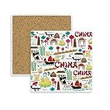 DIYthinker China Bambus-Laterne Panda-Platz Coaster-Schalen-Becher-Halter Absorbent Stein für Getränke 2ST Geschenk Mehrfarbig