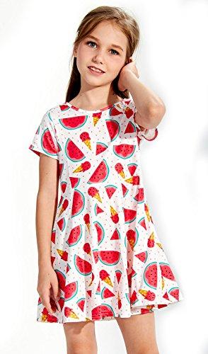 Funnycokid Kleinkind Mädchen Kleider Sommer Kurzarm Drucken Wassermelone Party Tragen