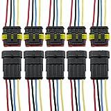 PsmGoods, lot de 5 fiches de connecteur électrique étanches pour voiture avec câble AWG Marine