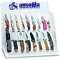Ausonia–Vitrina para cuchillos de bolsillo vacío 17cavidades de plexiglás con cierre a llave