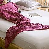 Owikar Queue de sirène couvertures en tricot chaud et doux Salon Chambre à coucher Canapé Cosy Sleeping sirène Couverture d'hiver cachemire Climatisés couvertures chaud Sac de couchage pour femme adulte enfants