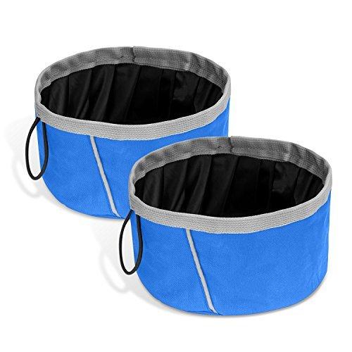 Pawaboo set ciotole da viaggio per cani gatti, [2 pezzi] 2000ml ciotola pieghevole contenitore cibo acqua viaggio passeggio per cane e gatto - blu