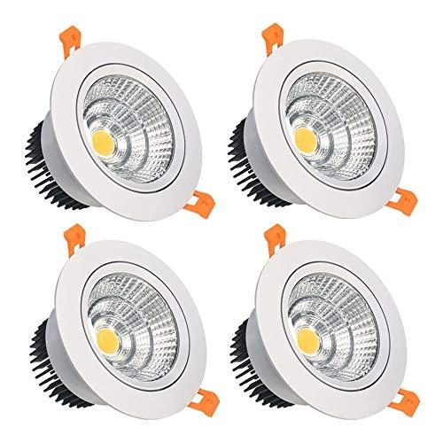 16 Watt Einbauleuchten (LightingWill LED-Einbauleuchte, 16 W, CRI80, dimmbar, COB Richtung, Deckeneinbauleuchte, Aussparung, 115 mm, 60 Abstrahlwinkel, Warmweiß, 3000 K-3500 K, 120 W Halogenlampen, 4er-Pack)