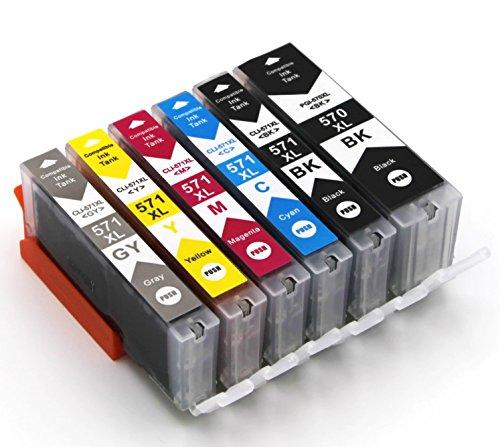 6 Druckerpatronen mit Chip kompatibel zu Canon PGI-570 CLI-571 (1x Schwarz breit, 1x Schwarz schmal, 1x Cyan, 1x Magenta, 1x Gelb,1x Grau) passend für Canon Pixma Drucker MG-5700 MG-5750 MG-5751 MG-5752 MG-5753 MG-6800 MG-6850 MG-6851 MG-6852 MG-6853 MG-7700 MG-7750 MG-7751 MG-7752 MG-7753 TS-5000 TS-5050 TS-5051 TS-5053 TS-5055 TS-6000 TS-6050 TS-6051 TS-6052 TS-8000 TS-8050 TS-8051 TS-8052 TS-8053