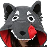 Casa Pyjama Tieroutfit Schlafanzug Tier Onesies Sleepsuit mit Kapuze Erwachsene Unisex Overall Halloween Kostüm Jumpsuit (XL, Gray Wolf) -