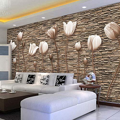 Tulip Brick Tv-Hintergrund-Tapeten-Backsteinmauer 3D Wohnzimmer Sofa Mural Film Wallpaper -