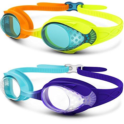 OutdoorMaster Kinder Schwimmbrille, lustige Fisch-Stil Schwimmbrille für Kinder (4-12 Jahre), lecksicher Schwimmbrille für Jungen Mädchen, Schnell zu verstellen(2p Gelb/Orange+Dunkelblau/hellblau)