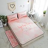 AMYDREAMSTORE Sommer Schlafen Rattan Kühlung Fußboden teppich matte,Ice seide Mat Bett matratze Klimaanlage Sitz-cartoon Folding mat-J Queen2