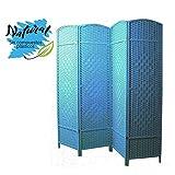 Biombo Separador Grande, Azul de Bambú, Cuatro Paneles, en Salon y Dormitorio 180 x 180 cm.- Hogar y más