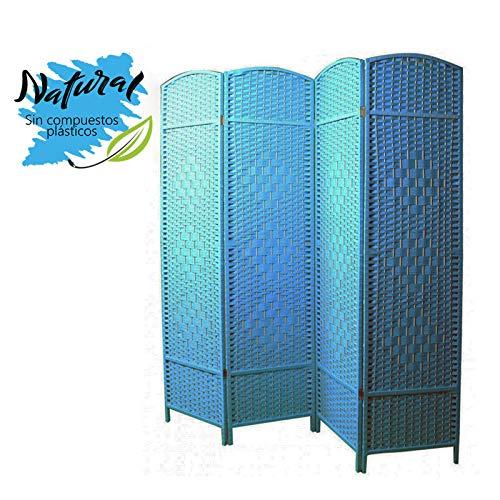 Biombo Separador Grande, Azul de Bambú, Cuatro Paneles, en Salon y Do