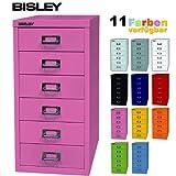 BISLEY Schubladenschrank aus Metall mit 6 Schüben | Schrank für Büro, Werkstatt und Zuhause | Stahlschrank in 11 Farben (Pink)