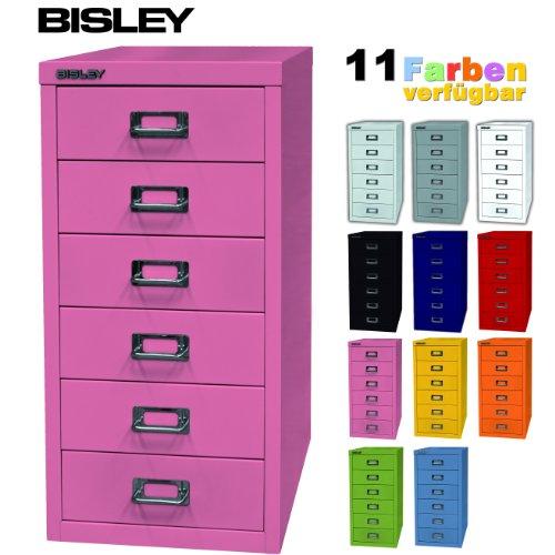 Schubladenschrank pink aus Metall mit 6 Schubladen