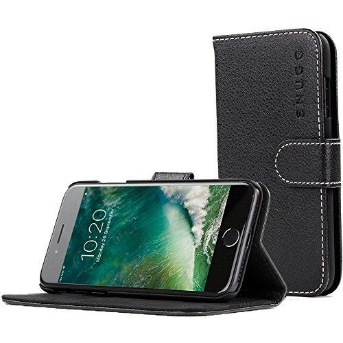 Snugg iPhone 7 Plus and 8 Plus Hülle, Apple iPhone 7 Plus and 8 Plus Klappetui Flip Cover Tasche Leder [Kartenfächer] Schutzhülle Lederbrieftasche Executive Design - Schwarz, Legacy Range