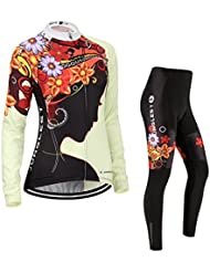Maillot de Cyclisme Femme Manches Longues jersey(S~5XL,option:Cuissard,3D Coussin) N219