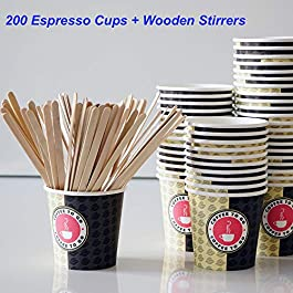 200 Bicchieri di Carta per caffè Espresso + Palettine in Legno. Coffee to Go, 120ml/ 4oz.