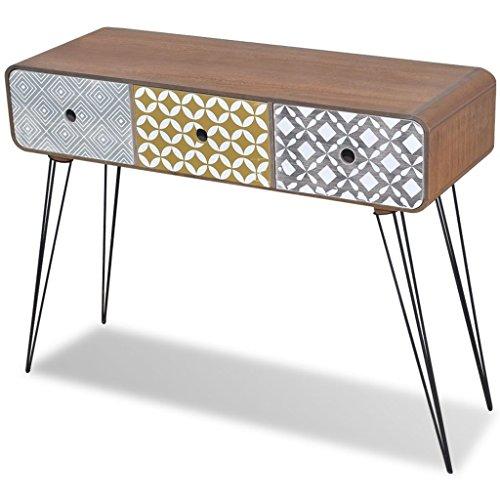 Vidaxl armadietto laterale/tavolo consolle con 3 cassetti marrone interno casa