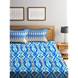 Bombay Dyeing Cynthia Polycotton Double Bedsheet with 2 Pillow Covers - Blue