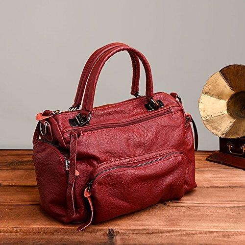 YTTY Boston Handtaschen Personalisierte Mode Tasche Mumie Tasche Mehrschichtige Weiche Lederatmosphäre Messenger Bag, Weinrot - Personalisierte Boston Bag
