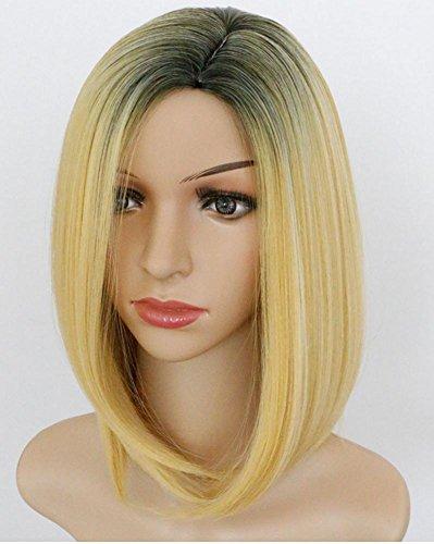 Preisvergleich Produktbild GBDSD Bob Perücke Goldene Perücken Kurze gerade Synthetische Haar Voll Perücke für Frauen für Frauen Cosplay Party Täglicher Gebrauch