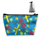 Swedish Flag Dj Skull Multifunction Travel Makeup Bags Collection Pouch Bag Organizers With Zipper