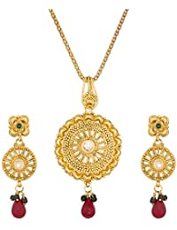 Aadita Gold Plated Royal Pendant Set With Earrings For Women - B075MC7368