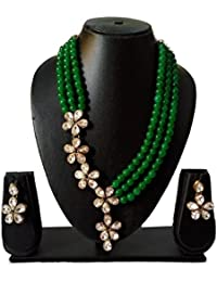 Catalyst Exclusive Designer Collection Stylish Green Color Faux Pearl Necklace Jewellery Set With Earrings For...