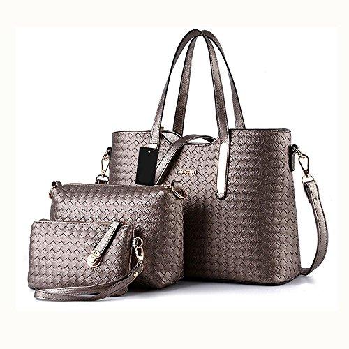 Damen Handtasche, Mode PU Lackleder Tasche mit Alligator Muster, 3-teiliges Set mit Crossbody Tasche und Geldbeutel/ Leder Handtasche + Schultertasche + Geldbeutel 3pcs Beutel Grau (Grau Tasche Leder)