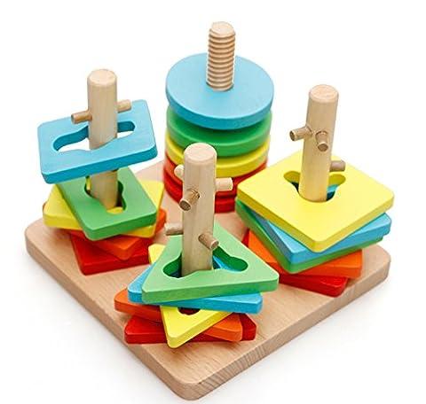 Lewo Puzzle Formes Géométrique Colonne en Bois Stacker Sorter Peg Blocs Set