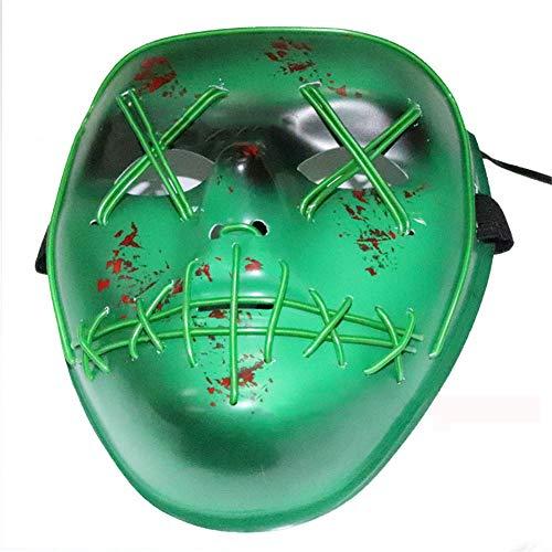 Ldragon halloween horror sangue fessura forcella occhio maschera luminosa a led luce fredda street dance bar ktv festival danza divertente face mask-18 * 17 cm