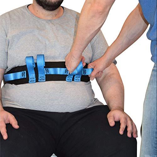 Sicherer Transport- und Gehgurt mit 7 Haltegriffen für Pfleger - Ambulanter Assistent für Patiententransport und Bewegung-Transfergurt Haltegurt 130cm lang 10cm weit Blauer Griff Schnellverschlus -