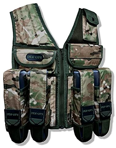 CKSN Deniable-Ops Den-Ops Paintball Vest Tactical Assault Vest Desert Camo Paintballing Scenario Mil-Sim Airsoft Military Operations