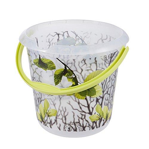 keeeper Eimer mit integrierter Mess-Skala und ergonomischem Griff, Blumendekor, 10 l, Ilvie Spring Leaves, Transparent Leaf Griffe