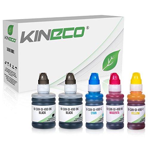 Preisvergleich Produktbild Kineco 5 Tintenbehälter kompatibel zu Canon GI-590 / GI-490 für Canon Pixma G1400 G1500 G2400 G2500 G3400 G3500