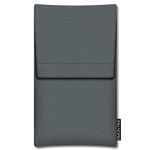 SIMON PIKE Apple iPhone 7 Plus 6/6S Plus Ledertasche Sidney 01 in schwarz Leder Leder, handgefertigte Smartphone Leder Tasche aus echtem Leder grau Kunstleder Kunstleder (Muster 01)