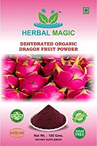 100% PURE & NATURAL 100G ORGANIC CERTIFIED DEHYDRATED DRAGON FRUIT POWDER - HYLOCEREUS UNDATUS (GLUTEN FREE/PURE VEG) MAGIC OF HERBS ONLY BY HERBAL MAGIC (Pure leaves/fruit/root powder NOT treated/ tinctured, or cooked powder extracts)