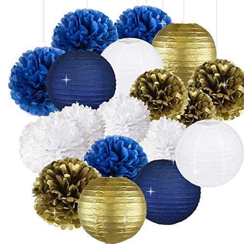 18pcs Weiß Navy Blue Gold 8 Zoll 10 Zoll Seidenpapier Pom Pom Papier Blumen Papier Honeycomb Papierlaternen für Navy Blue Themed Party, Party Dekoration Braut Dusche Dekor Baby Shower Dekoration (Gold-pom-poms Und Blau)