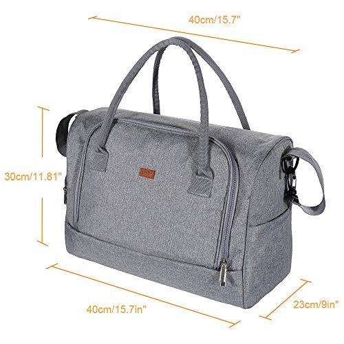 Imagen para Lictin Bolso de cambiador bebé pañales Impermeable Bolsas de pañales bebés con una almohadilla para el pañal y bolsillos de aislamiento con 2 ganchos de carrito (Gris)