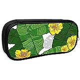 Pouch Bag Push Hawaii Hawaiian Tropical Palms Foglie E Fiori Gialli Astuccio Per Matite Astuccio Per Trucco Borsa Cosmetica