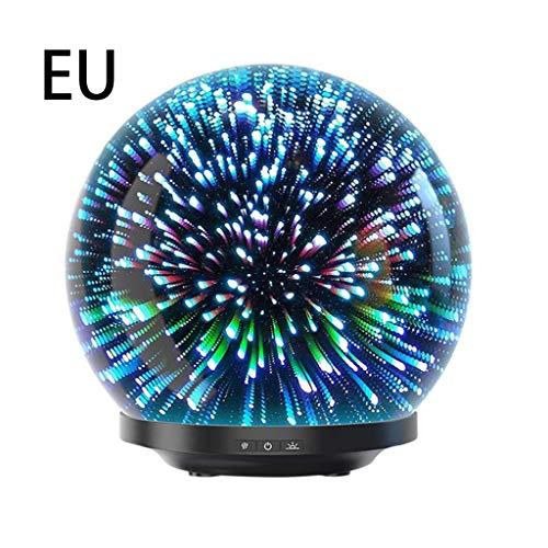 Zimmer Essentials Ball (200ml Ätherisches Öl Diffusor, 3D Glas Feuerwerk Nachtlicht Ball Ultraschall Aroma Aromatherapie Feinnebel Luftbefeuchter Anti Rutsch Basis - EU)