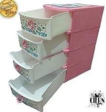 CIERN Multipurpose 4 Drawer Plastic Modular Storage Organizer for Baby Products
