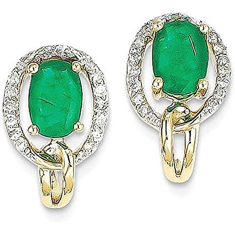14k oro giallo 1 / 5CT Diamond & Emerald Earrings - 5 Ct Orecchini Di Diamanti