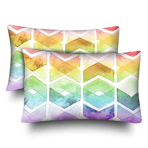 InterestPrint Aquarell-Kissenbezüge, Regenbogenfarben, Standardgröße, 20 x 30 cm, 2er-Set - Chevron Baby-bettwäsche-sets