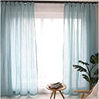 Cystyle 1er Gardinen Vorhänge Transparent Leinen Optik Mit Kräuselband,  Vorhang Voile Fensterschal Dekoschal Für Wohnzimmer