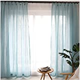 Cystyle 1er Gardinen Vorhänge transparent Leinen Optik mit Kräuselband, Vorhang Voile Fensterschal Dekoschal für Wohnzimmer Kinderzimmer Schlafzimmer (130 x 220 cm, Blau)