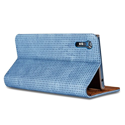 Retro Matte Breatheable Air-Mesh PU Leder Folio Stand Brieftasche Case Cover mit Kickstand Card Slots für Sony Xperia XZ ( Color : Yellow ) Blue
